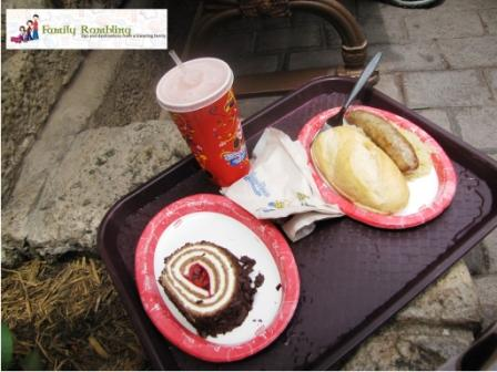 Brat with Saurkraut and Black Forest Roulade at Sommerfest, in Germany at Epcot