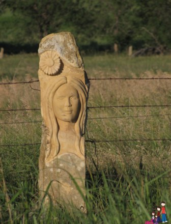 Carved Limestone Fence Post, Wilson, Kansas