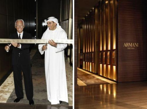 Giorgio Armani cuts the ribbon to open the Armani Hotel Dubai