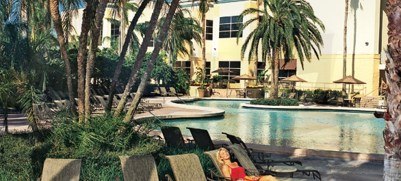 By the pool at the Rosen Plaza, Orlando, Florida