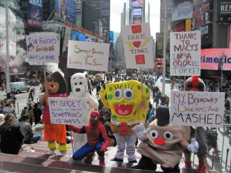 Macy's protest by Times Square Alliance Cartoon Squad