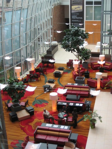 Marriott Ghent Lobby in Belgium combines the old with the new. Luxury Travel Writer Nancy D. Brown