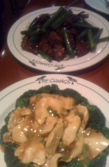 pf changs ginger chicken mongolian beef